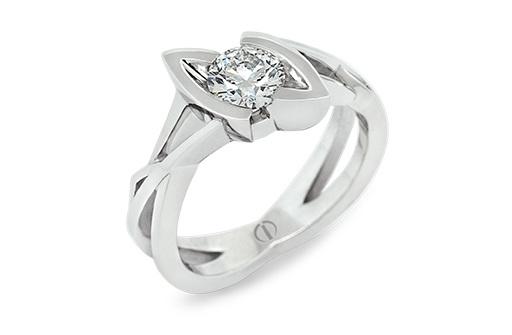 Designer round brilliant diamond intricate platinum engagement ring