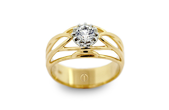 Designer round brilliant diamond yellow and white gold deco engagement ring