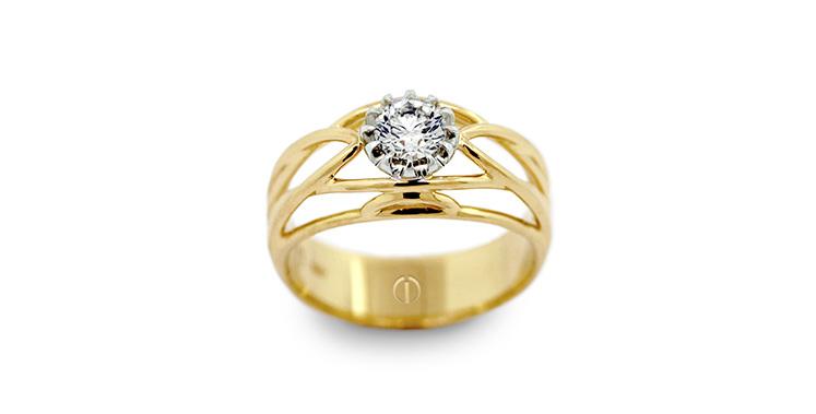 Designer round brilliant diamond yellow and white gold deco engagement ring