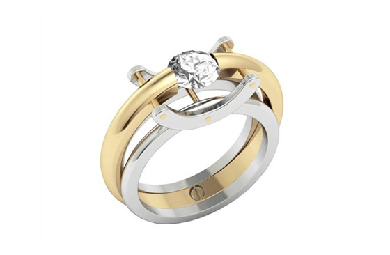 Designer round brilliant diamond yellow gold and platinum engagement ring