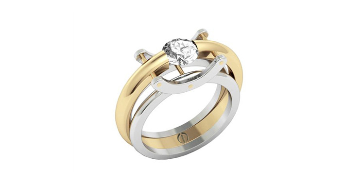 Designer round brilliant diamond yellow gold and platinum engagement ring
