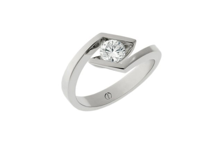 Designer round diamond platinum crossover engagement ring