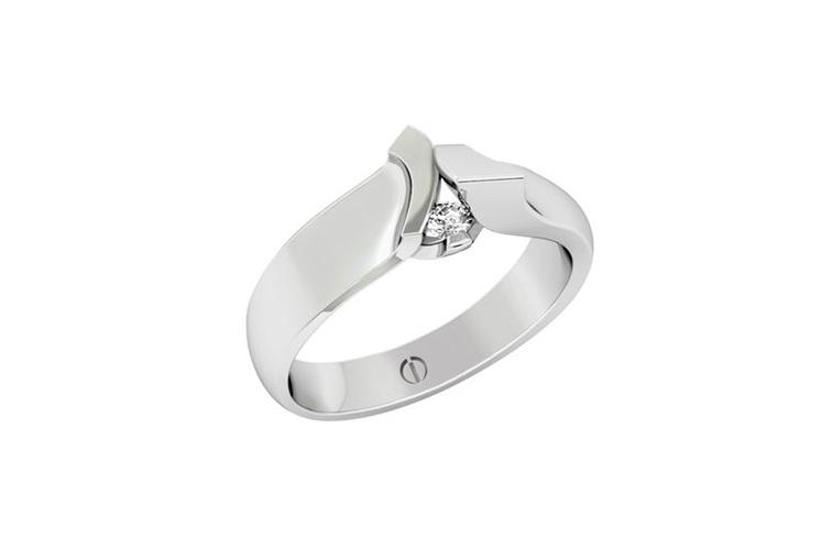 Designer sculptural art round diamond platinum engagement ring