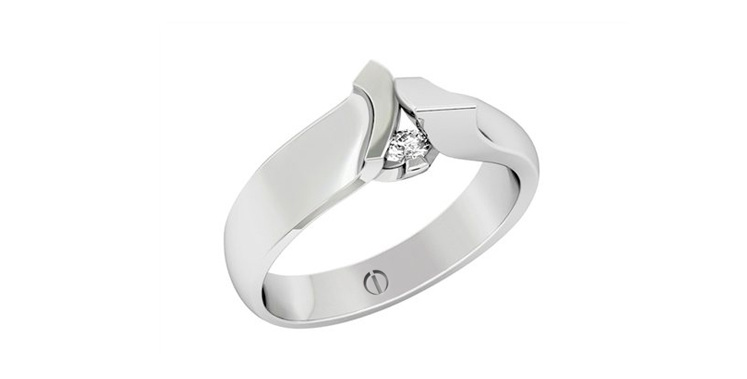 Designer sculptural art round diamond platinum engagement ring