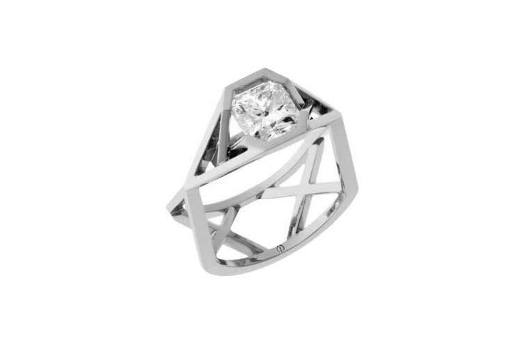 Designer square radiant diamond platinum engagement ring