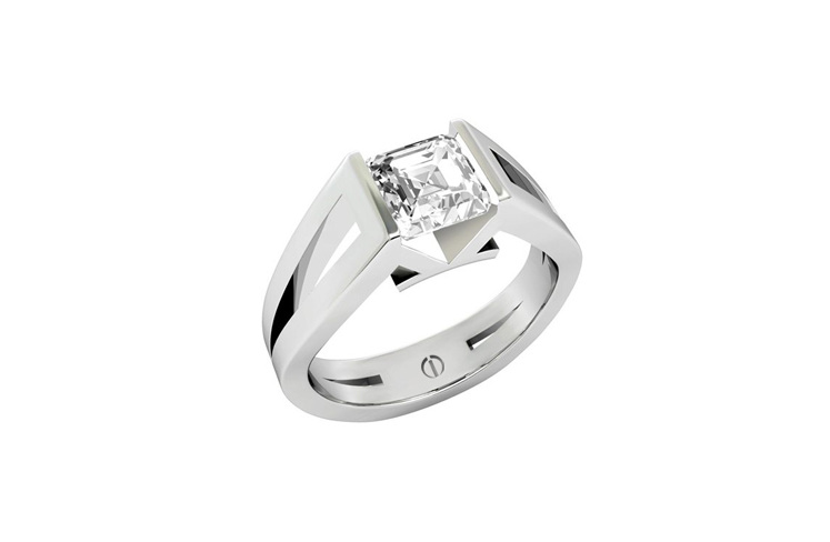 Designer tension set asscher cut diamond platinum engagement ring