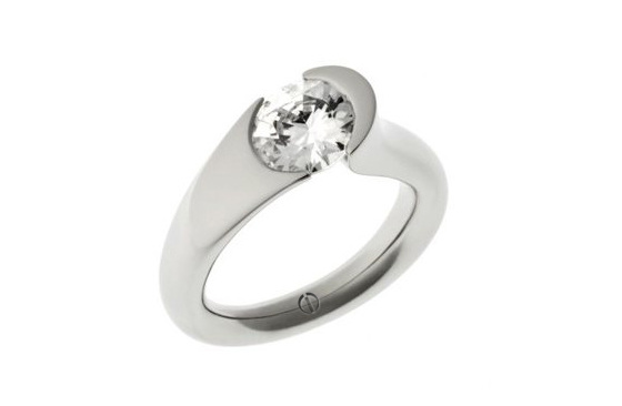 Designer tension set round brilliant diamond platinum engagement ring