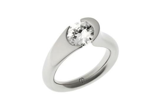 Designer tension set round brilliant diamond platinum engagement ring
