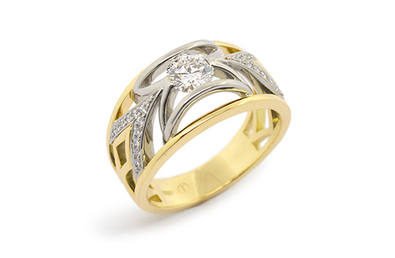 Designer yellow and white gold round brilliant diamond engagement dress ring