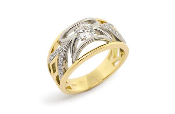Designer yellow and white gold round brilliant diamond engagement dress ring