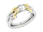 Designer yellow gold and platinum round brilliant diamond engagement ring