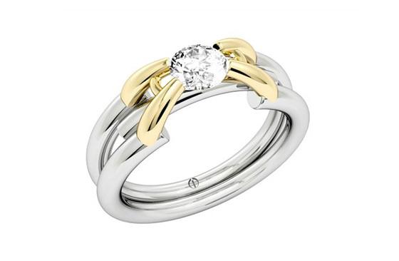 Designer yellow gold and platinum round brilliant diamond engagement ring