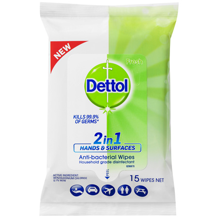 Dettol 2 in 1 Hands and Surfaces Antibacterial Wipes 15pk