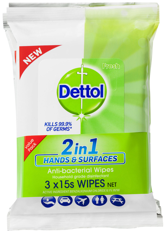 Dettol 2 in 1 Hands and Surfaces Antibacterial Wipes 3 x 15pk