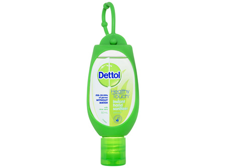 Dettol Healthy Touch Liquid Antibacterial Instant Hand Sanitiser Refresh Green Clip 50mL