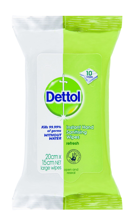 Dettol Instant Hand Sanitizer Wipes Anti-Bacterial 10 Pack