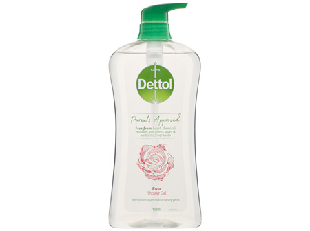Dettol Parents Approved Shower Gel Body Wash Anti-bacterial Rose 950mL