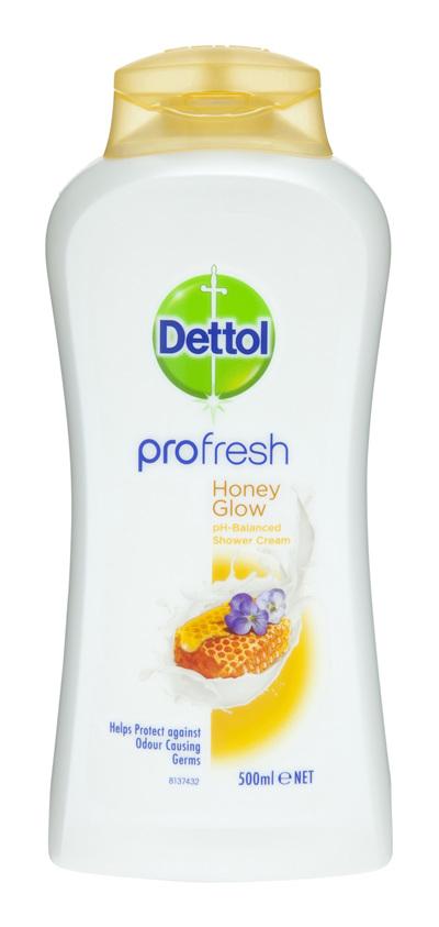 Dettol Profresh Shower Gel Cream Honey Glow Body Wash 500ml