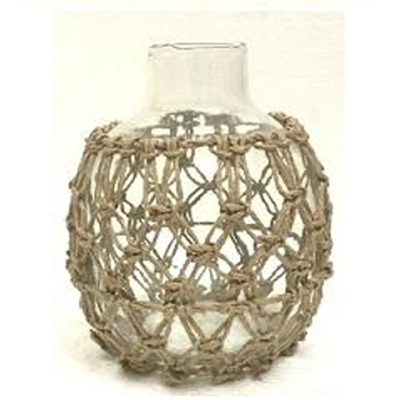 Dev Glass Vase W Rope Detail - Small