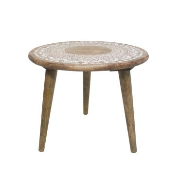 Devine Wooden Carved Kd Table - White Distress - 51x46cmh