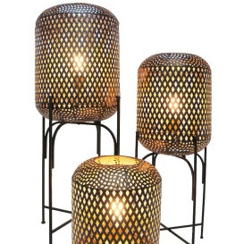Dia Metal Lamp On Stand - Black - 69cmh