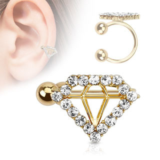 Diamond Paved Gem Gold IP Brass Non-Piercing Ear Cuff