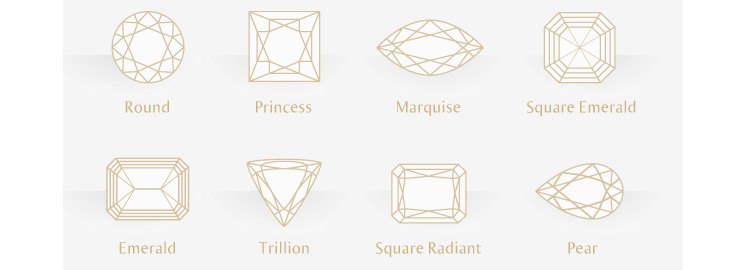 diamond shapes for diamond engagement and wedding rings