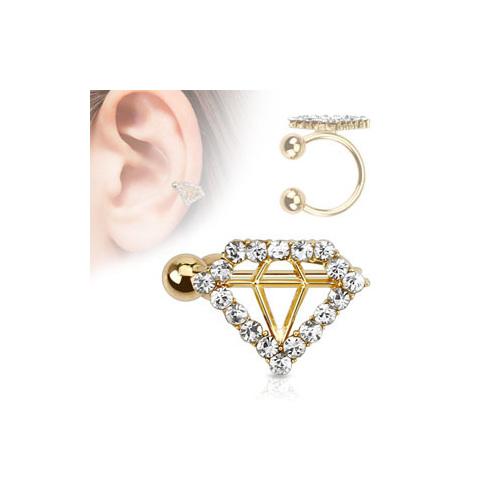 Diamond Style Paved Gem Gold IP Brass Non-Piercing Ear Cuff