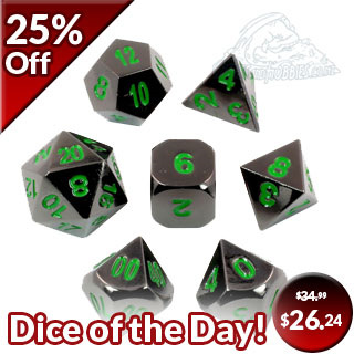 7 'Black Chrome with Green' Metal Dice
