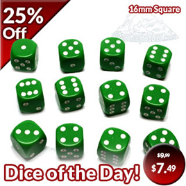 12 Green and White Six Sided Dice (16mm)