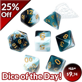 7 Shell & White with Gold Fusion Dice