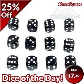 12 Black and White Six Sided Dice (16mm)