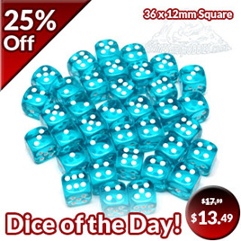 36 Translucent Teal and White Six Sided Dice (12mm)