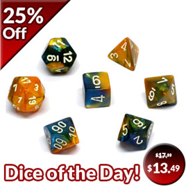 7 'Masquerade' & Yellow Gemini Polyhedral Dice with White Numbers