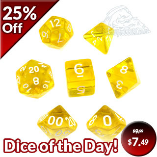 7 Yellow with White Translucent Dice