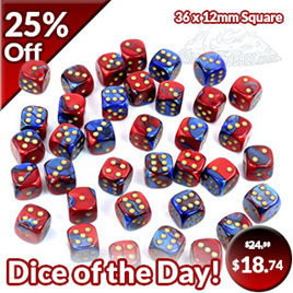 36 Blue & Red with White Gemini 12mm Six Sided Dice