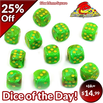 12 'Slime' Vortex Six Sided Dice (16mm)