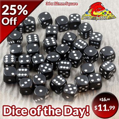 36 Black and White Six Sided Dice (12mm)