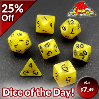 7 Yellow with Black Marble Dice