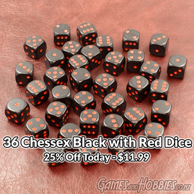 36 Black and Red Six Sided Dice (12mm)