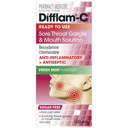 Difflam-C Ready To Use Sore Throat Gargle & Mouth Solution 100mL