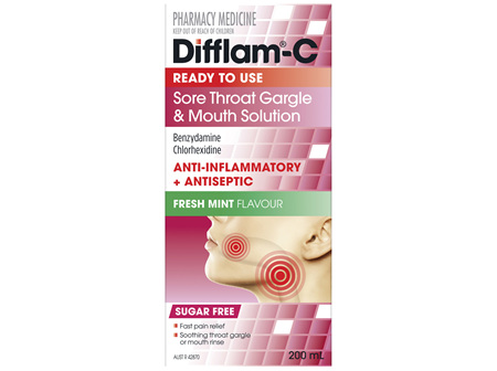 Difflam-C Ready To Use Sore Throat Gargle & Mouth Solution 200mL