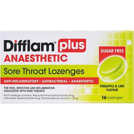 DIFFLAM Lozenge Plus Anaesthetic Pineapple & Lime 16