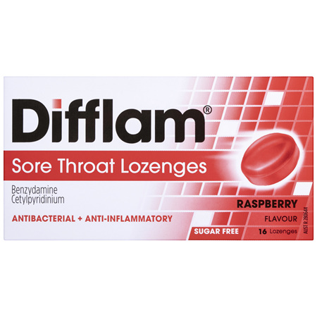 DIFFLAM LOZENGES RASPBERRY SUGAR FREE 16 PACK