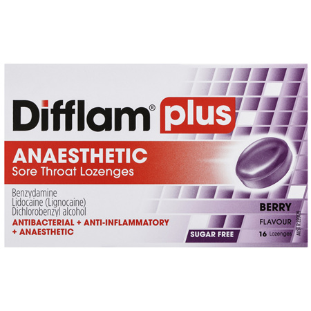 Difflam Plus Anaesthetic Sore Throat Lozenges Berry Flavour 16s