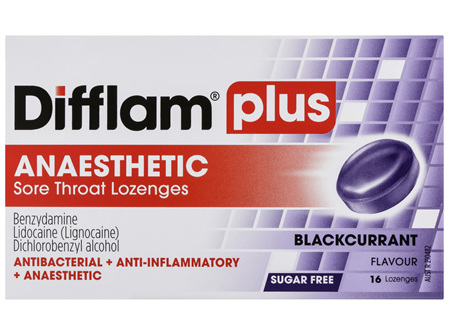Difflam Plus Anaesthetic Sore Throat Lozenges Blackcurrant Flavour 16s