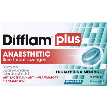 Difflam Plus Anaesthetic Sore Throat Lozenges Eucalyptus & Menthol Flavour 16s