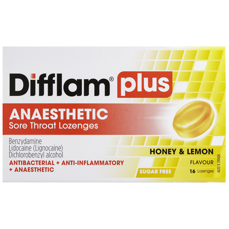 Difflam Plus Anaesthetic Sore Throat Lozenges Honey & Lemon Flavour 16s