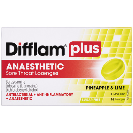 Difflam Plus Anaesthetic Sore Throat Lozenges Pineapple & Lime Flavour 16s