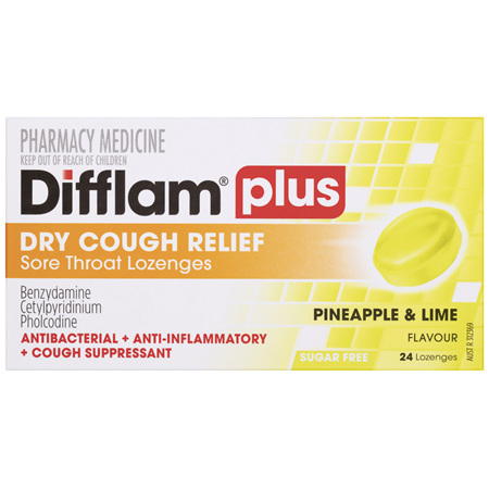 Difflam Plus Dry Cough Relief Sore Throat Lozenges Pineapple & Lime Flavour 24s